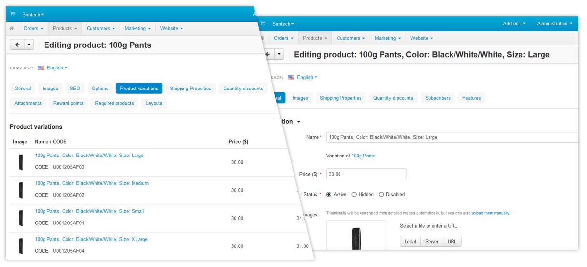 CS-Cart Παραλλαγες Προϊόντων